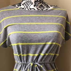 Forever 21 Grey with lime green striped dress